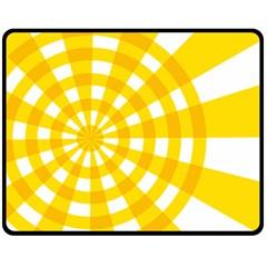Weaving Hole Yellow Circle Double Sided Fleece Blanket (Medium)