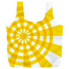 Weaving Hole Yellow Circle Full Print Recycle Bags (l)