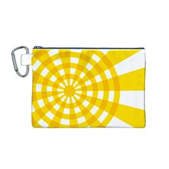 Weaving Hole Yellow Circle Canvas Cosmetic Bag (M)