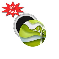 Tree Wood  White Green 1.75  Magnets (100 pack)