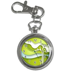 Tree Wood  White Green Key Chain Watches