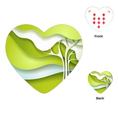 Tree Wood  White Green Playing Cards (heart)