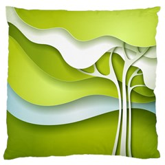 Tree Wood  White Green Large Flano Cushion Case (Two Sides)