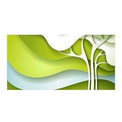 Tree Wood  White Green Satin Wrap