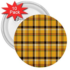 Plaid Yellow Line 3  Buttons (10 pack)
