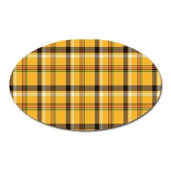 Plaid Yellow Line Oval Magnet