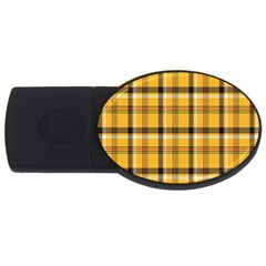 Plaid Yellow Line Usb Flash Drive Oval (2 Gb)