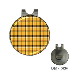 Plaid Yellow Line Hat Clips With Golf Markers