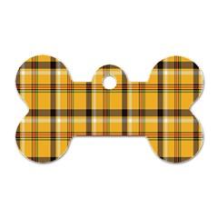 Plaid Yellow Line Dog Tag Bone (Two Sides)