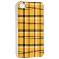 Plaid Yellow Line Apple Iphone 4/4s Seamless Case (white)