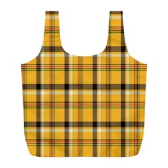 Plaid Yellow Line Full Print Recycle Bags (L)