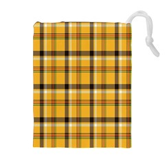 Plaid Yellow Line Drawstring Pouches (Extra Large)