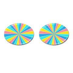 Rhythm Heaven Megamix Circle Star Rainbow Color Cufflinks (oval)