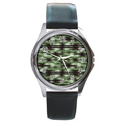 Stripes Camo Pattern Print Round Metal Watch