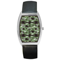 Stripes Camo Pattern Print Barrel Style Metal Watch
