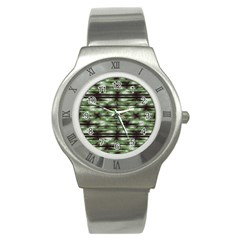 Stripes Camo Pattern Print Stainless Steel Watch