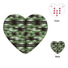 Stripes Camo Pattern Print Playing Cards (Heart)
