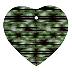 Stripes Camo Pattern Print Heart Ornament (Two Sides)