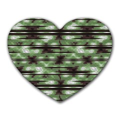 Stripes Camo Pattern Print Heart Mousepads