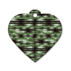 Stripes Camo Pattern Print Dog Tag Heart (Two Sides)