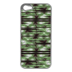 Stripes Camo Pattern Print Apple iPhone 5 Case (Silver)