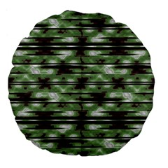 Stripes Camo Pattern Print Large 18  Premium Flano Round Cushions