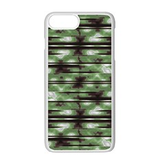 Stripes Camo Pattern Print Apple iPhone 7 Plus White Seamless Case