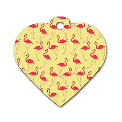 Flamingo pattern Dog Tag Heart (Two Sides)