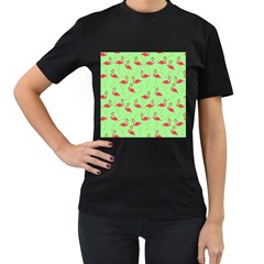 Flamingo pattern Women s T-Shirt (Black) (Two Sided)