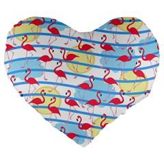 Flamingo pattern Large 19  Premium Flano Heart Shape Cushions