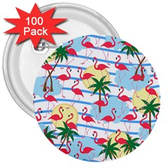 Flamingo pattern 3  Buttons (100 pack)