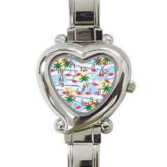 Flamingo pattern Heart Italian Charm Watch