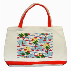 Flamingo pattern Classic Tote Bag (Red)