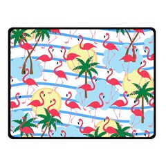 Flamingo pattern Fleece Blanket (Small)
