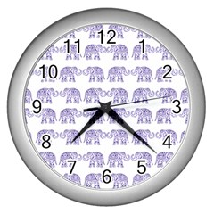 Indian elephant pattern Wall Clocks (Silver)