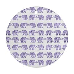 Indian Elephant Pattern Round Ornament (two Sides)