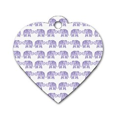 Indian elephant pattern Dog Tag Heart (Two Sides)