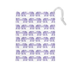 Indian elephant pattern Drawstring Pouches (Large)
