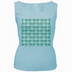 Indian elephant pattern Women s Baby Blue Tank Top