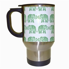 Indian elephant pattern Travel Mugs (White)