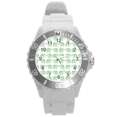 Indian elephant pattern Round Plastic Sport Watch (L)