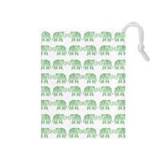 Indian elephant pattern Drawstring Pouches (Medium)