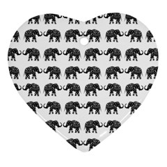 Indian elephant pattern Heart Ornament (Two Sides)