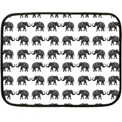 Indian elephant pattern Fleece Blanket (Mini)