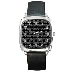 Indian elephant pattern Square Metal Watch