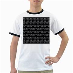 Indian elephant pattern Ringer T-Shirts