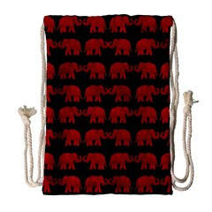 Indian elephant pattern Drawstring Bag (Large)