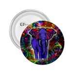 Abstract Elephant With Butterfly Ears Colorful Galaxy 2.25  Buttons Front
