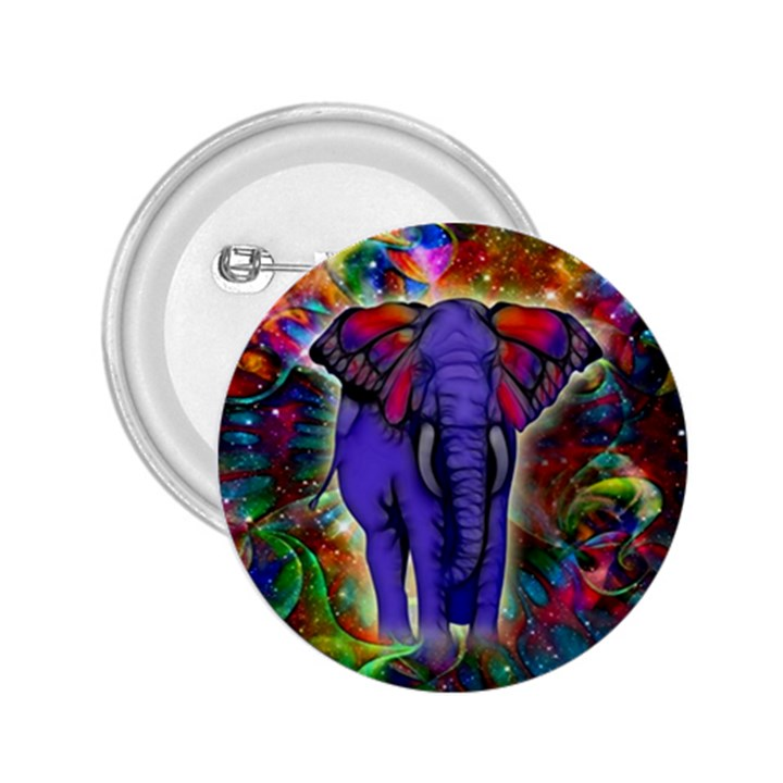 Abstract Elephant With Butterfly Ears Colorful Galaxy 2.25  Buttons