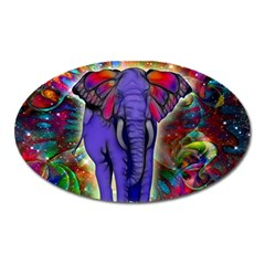 Abstract Elephant With Butterfly Ears Colorful Galaxy Oval Magnet